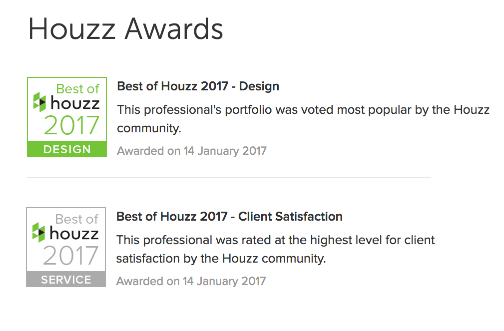 Voga wins two Houzz Awards 2017