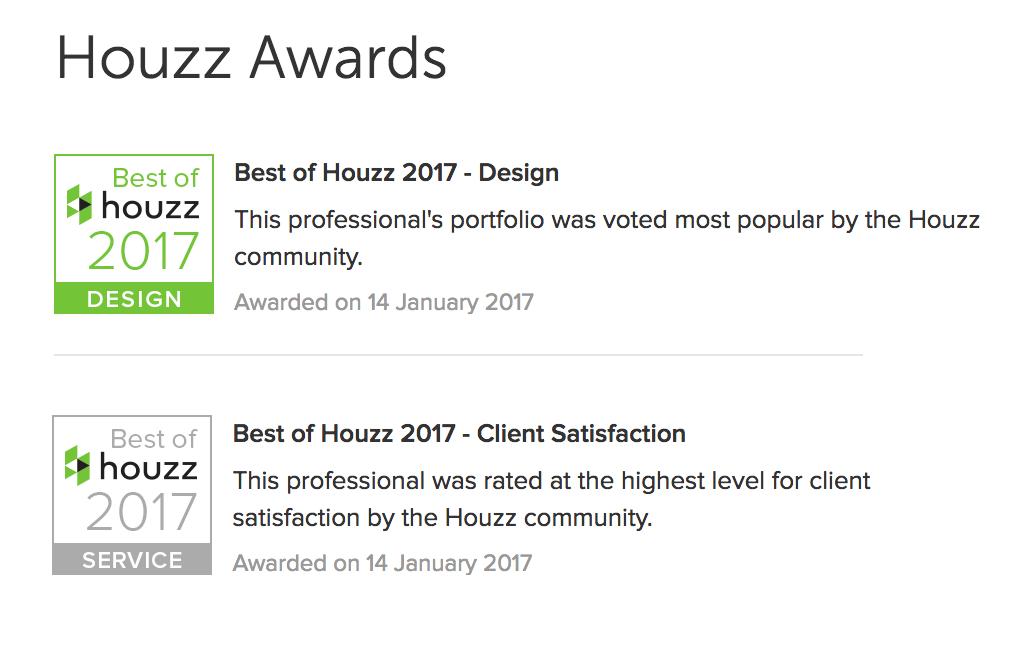 Voga wins two Houzz Awards 2017