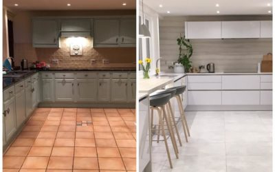 Tired Shaker Transformed to Contemporary White Handleless Kitchen!